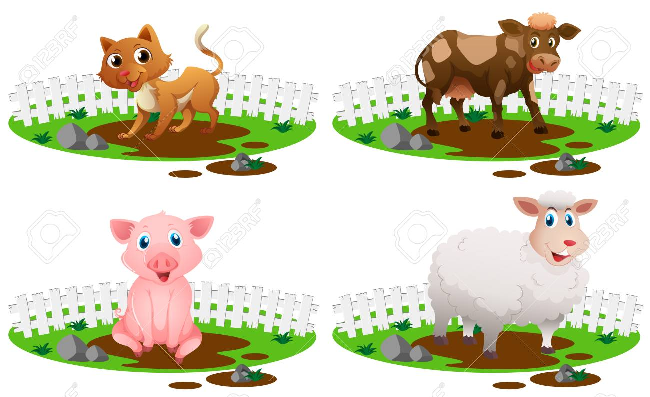 four types of animals in the mud illustration royalty free