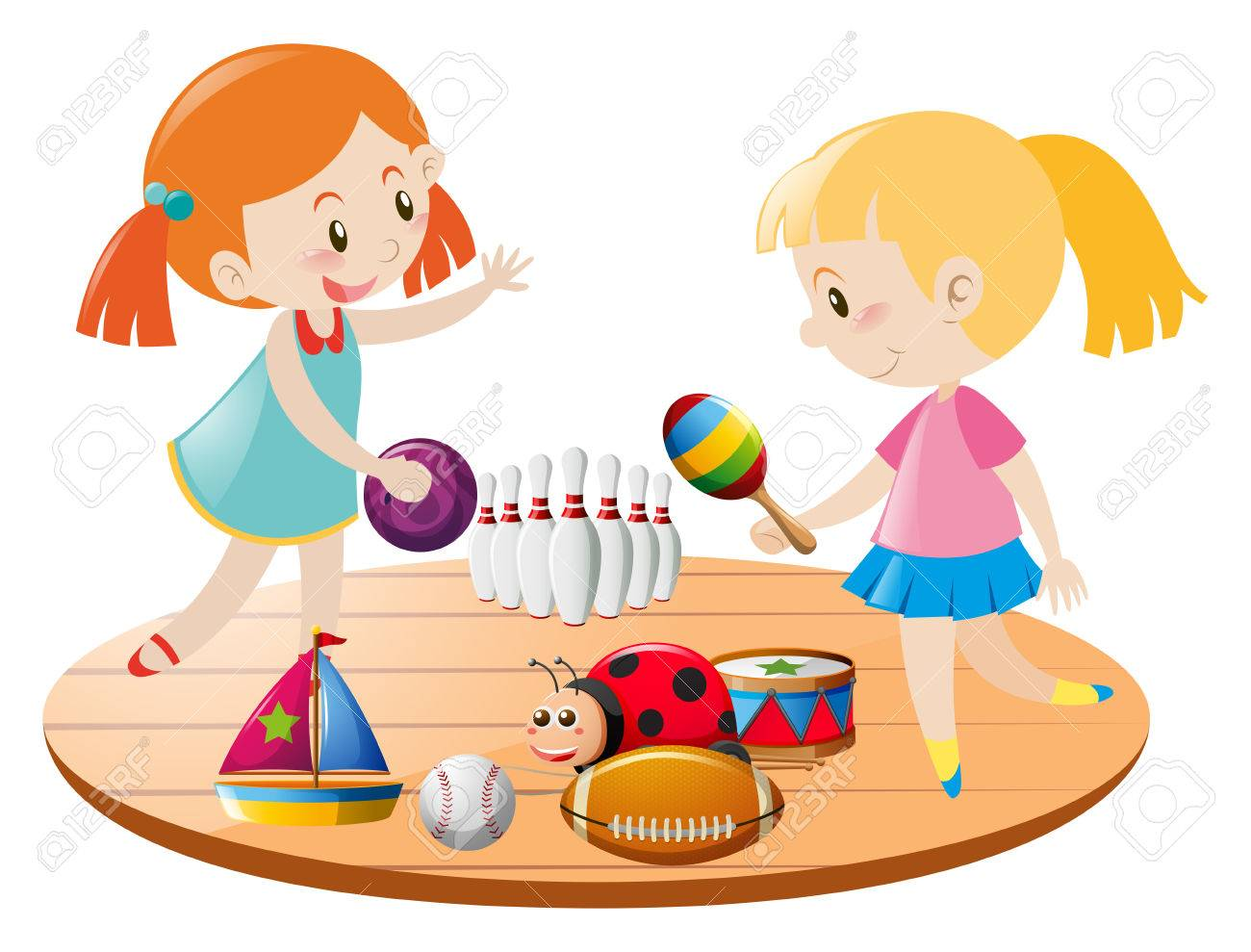 Two Girls Playing With Toys Illustration Royalty Free Cliparts