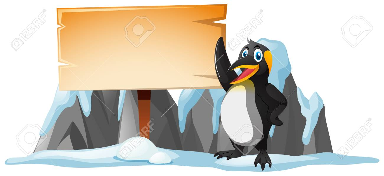 wooden sign template and penguin on ice illustration royalty free