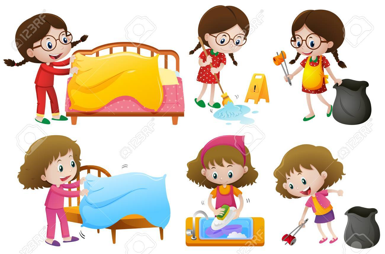 girls doing different chores illustration royalty free cliparts