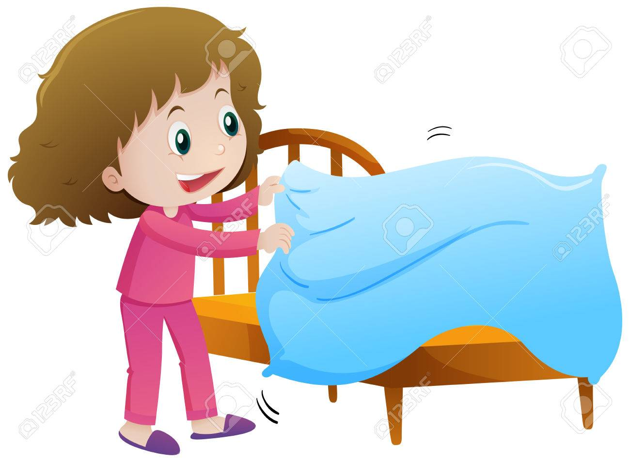 little girl making bed illustration royalty free cliparts vectors rh 123rf com