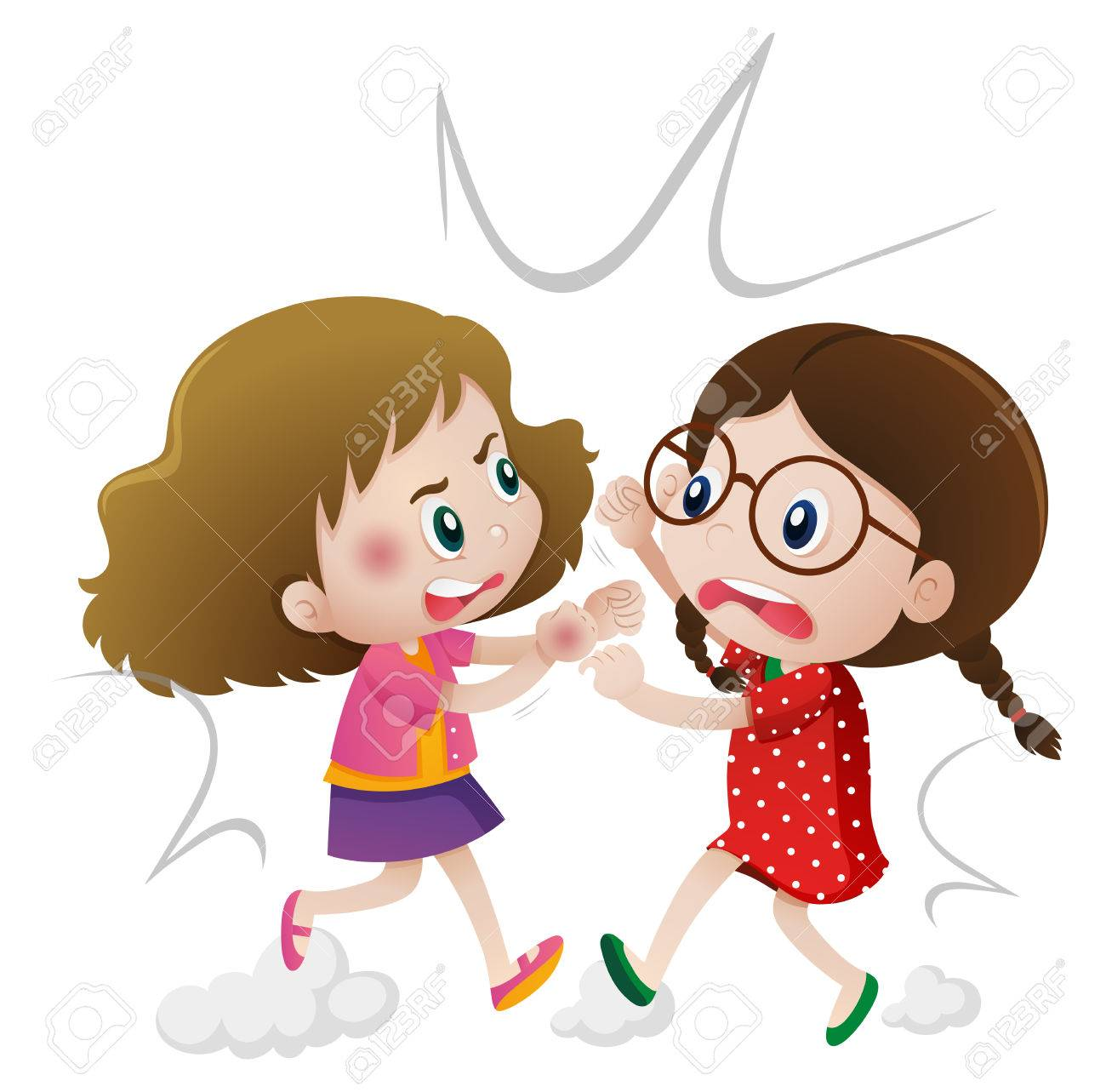 two angry girls fighting illustration royalty free cliparts, vectors