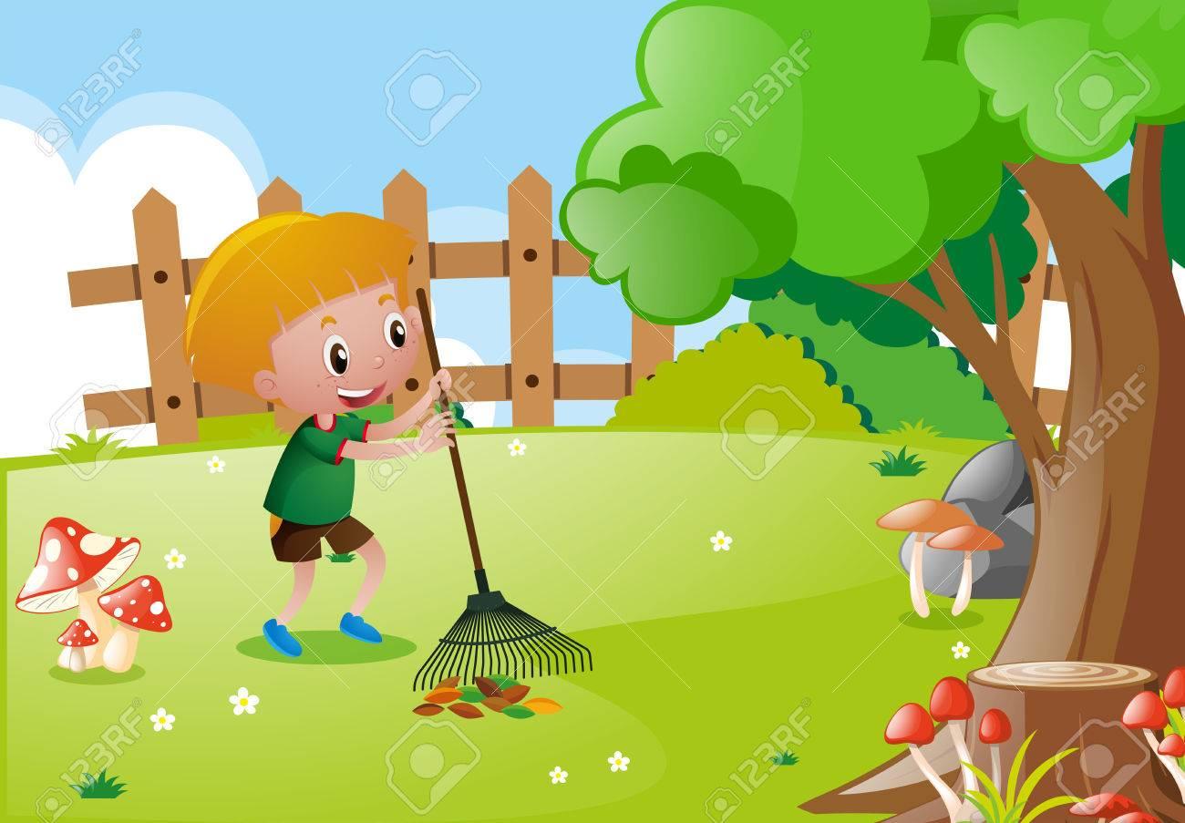 Little boy raking leaves in garden illustration