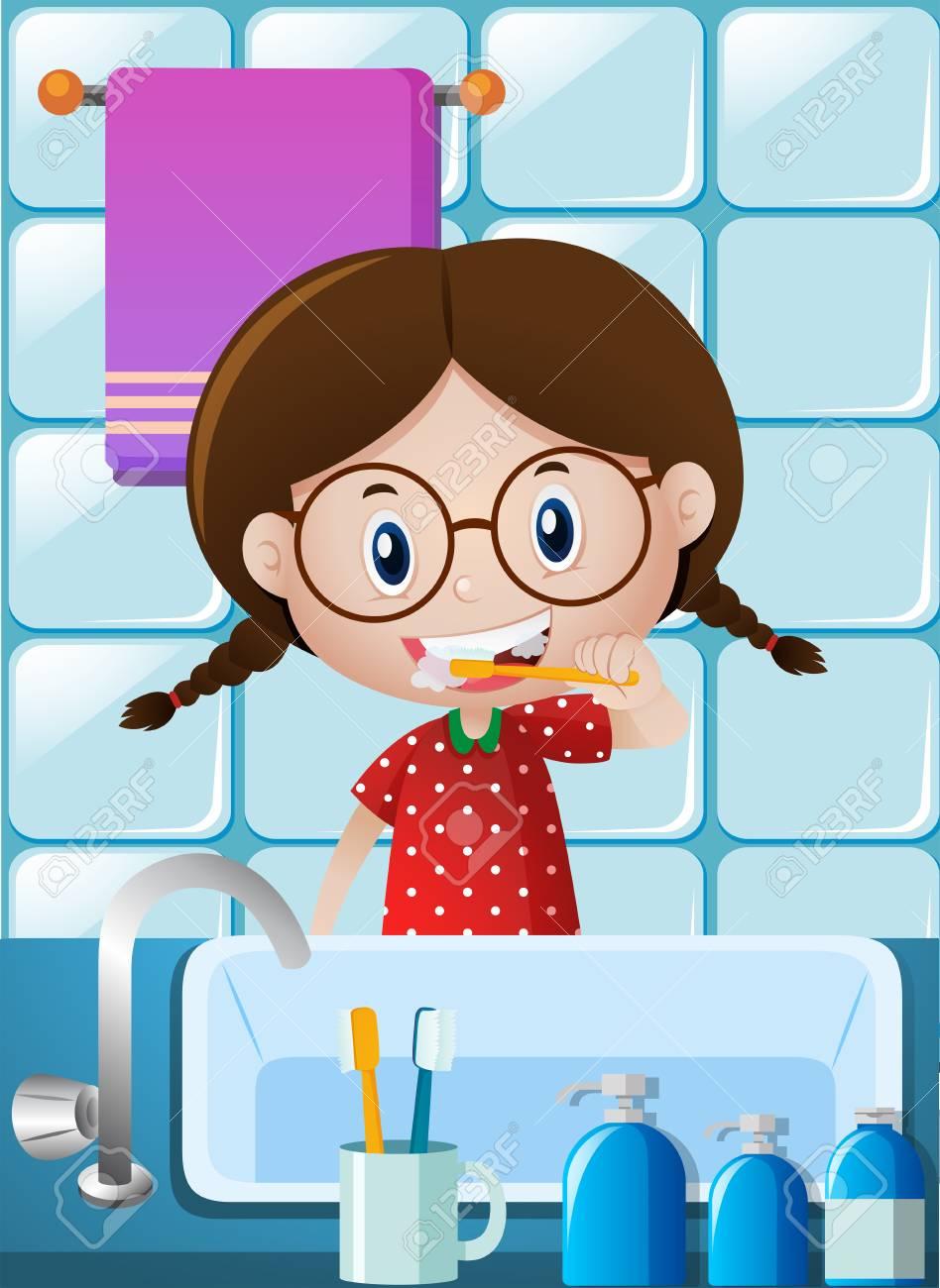 Kleines Mädchen Zähne putzen in Bad Illustration