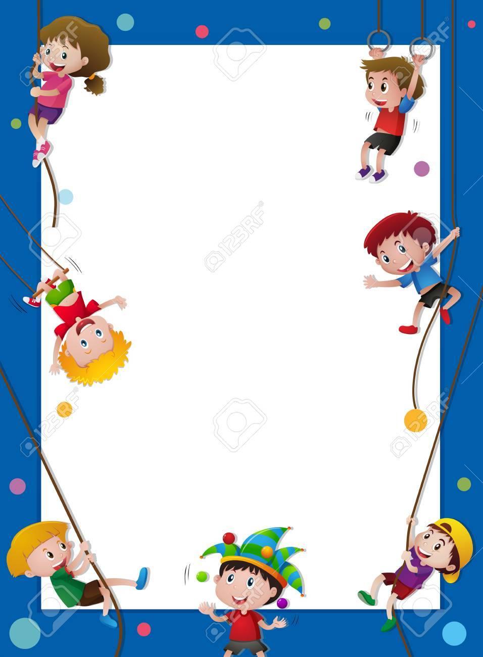 Plantilla De Borde Con Niños En La Ilustración De La Cuerda ...