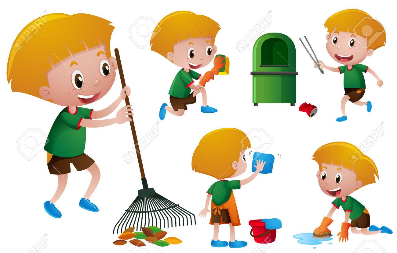 boy doing different chores illustration royalty free cliparts