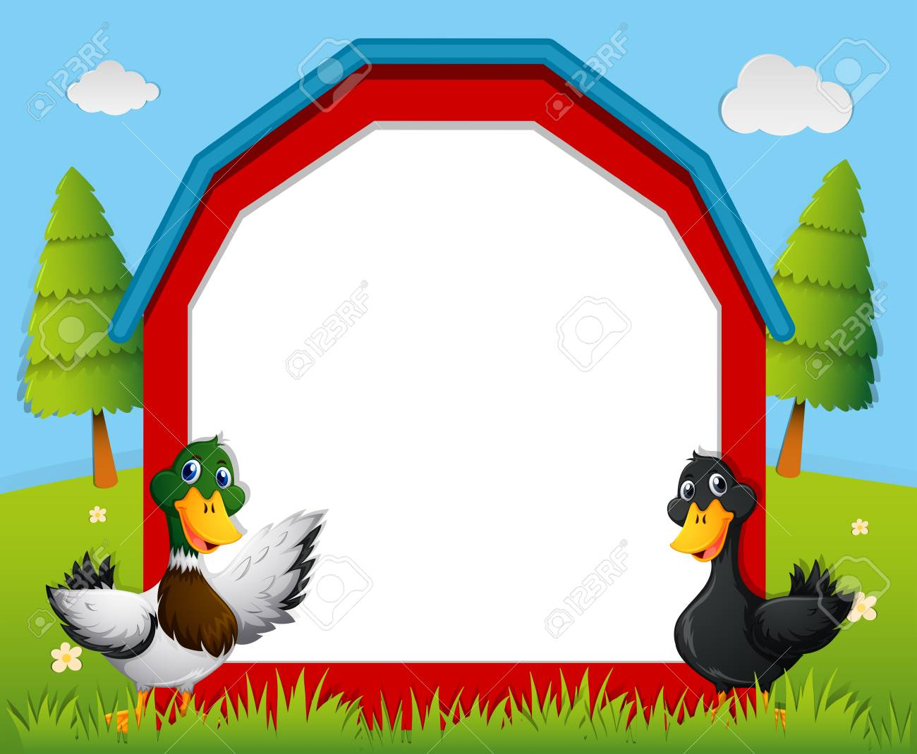 Border Template With Ducks In The Farm Illustration Royalty Free ...
