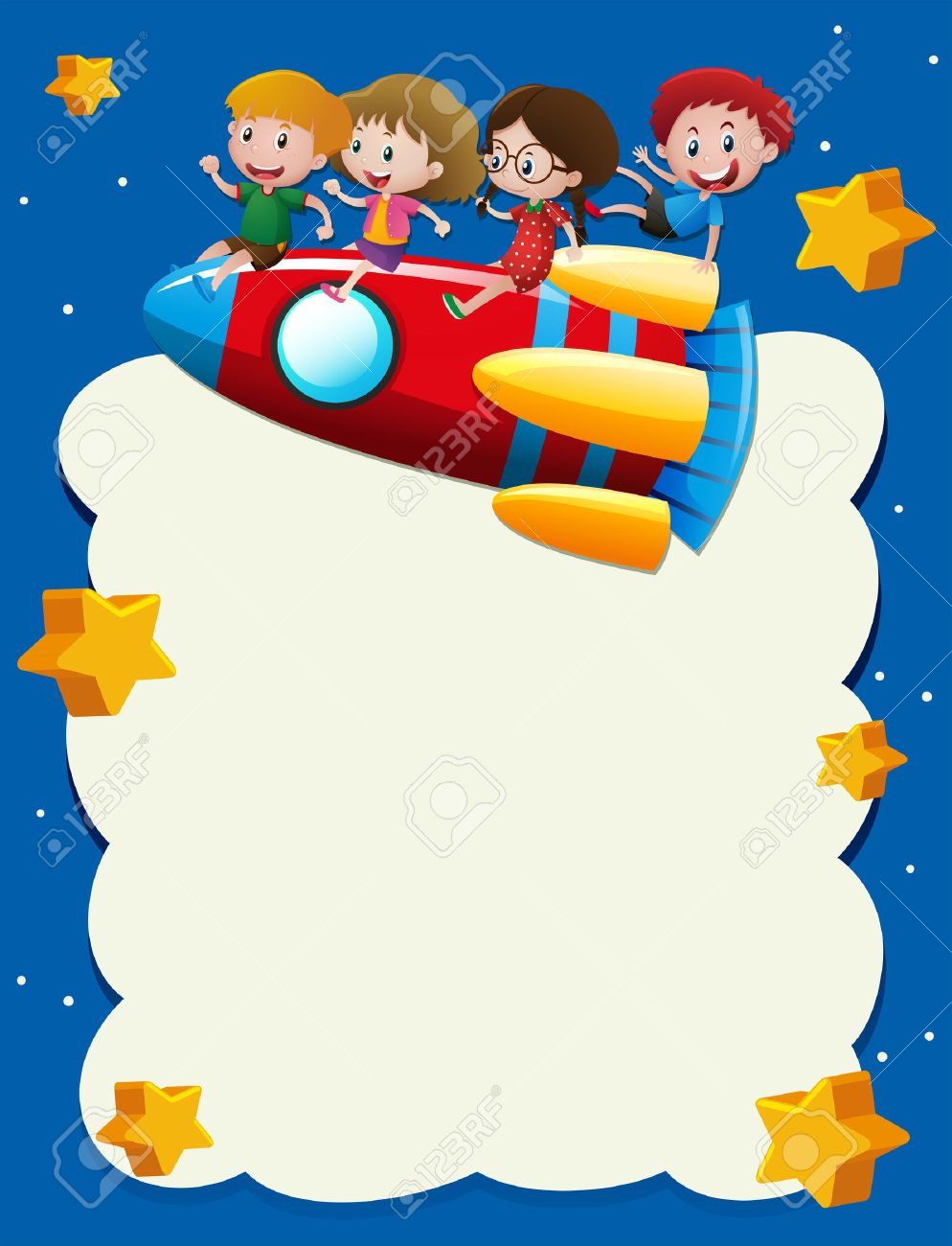 border template with kids riding on rocket in space illustration