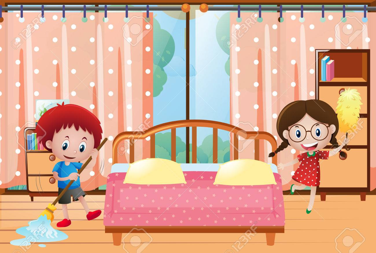 Two Kids Cleaning The Bedroom Illustration Royalty Free Cliparts Rh 123rf Com Clean Up Room Clip