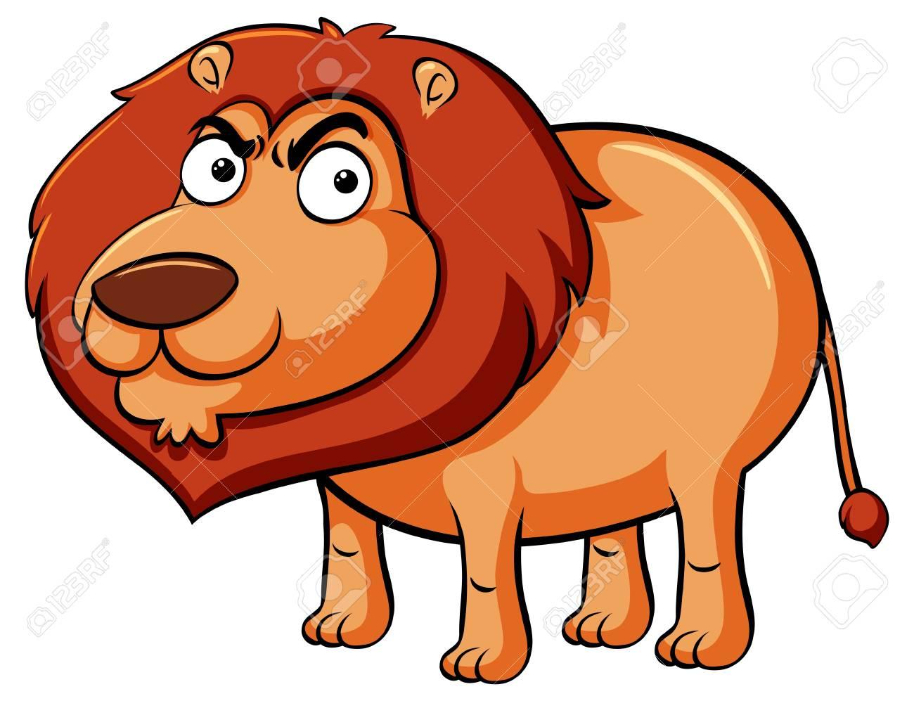 おさる顔のイラストが野生のライオンのイラスト素材ベクタ Image