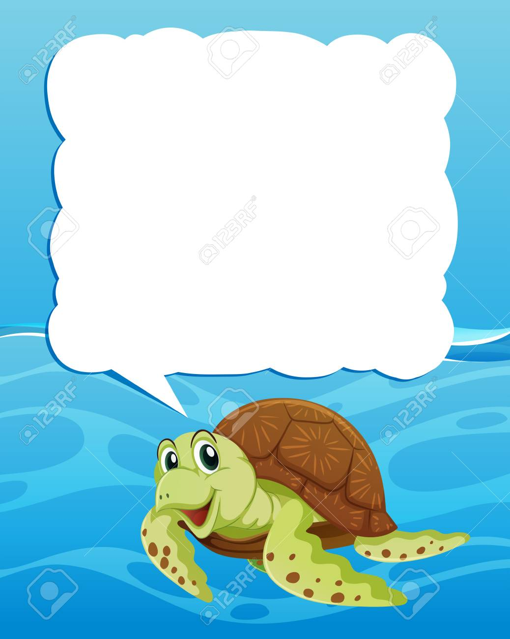 Border Template With Sea Turtle Swimming Illustration Stock Vector
