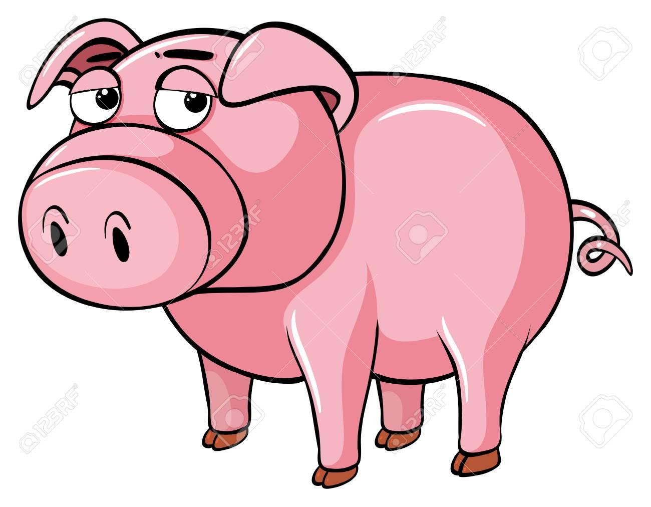 豚の眠そうな目のイラストのイラスト素材ベクタ Image 82682005