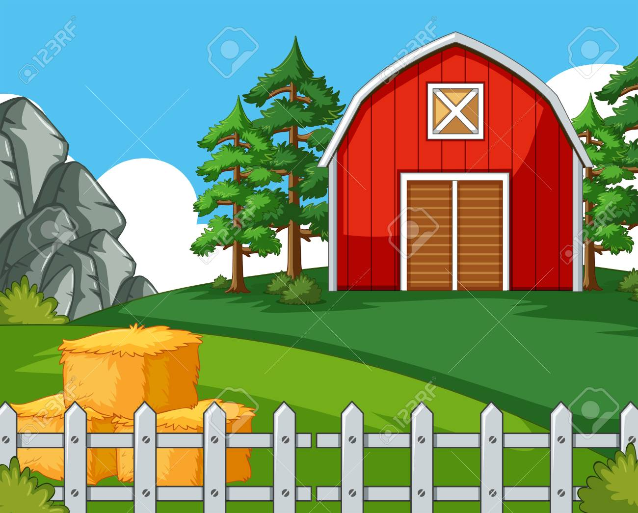 Background Scene With Barn And Hay Illustration Stock Vector