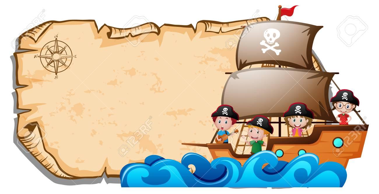 Foto de archivo - Plantilla de papel con niños en ilustración de barco  pirata 81550a8f3c2