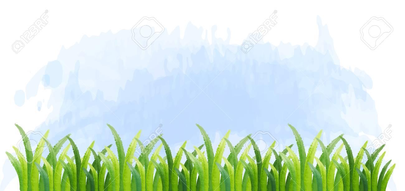 緑の草のイラストが背景テンプレートのイラスト素材ベクタ Image