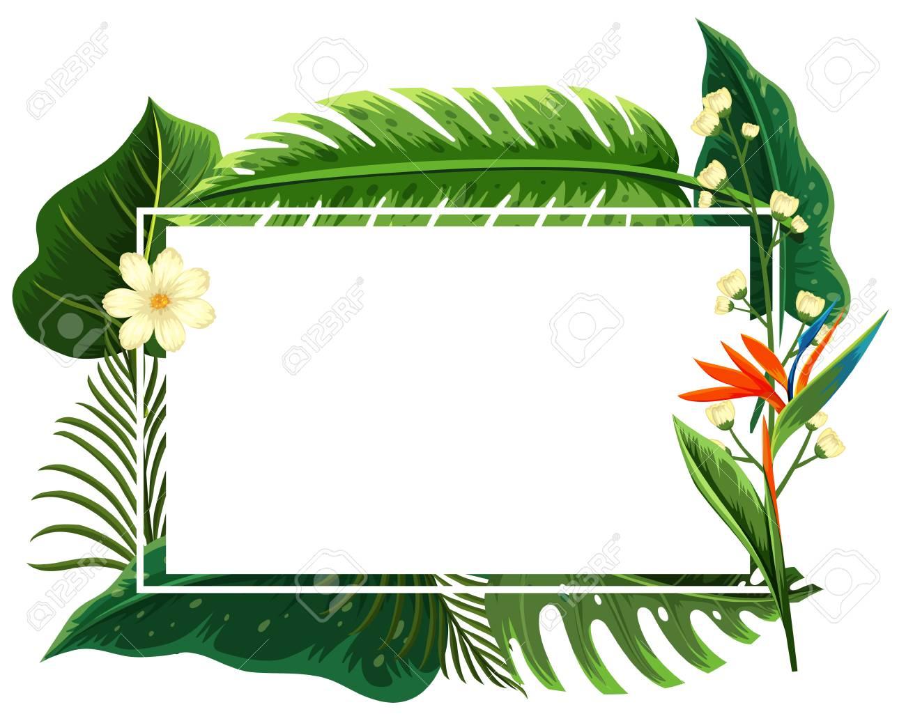 Marco Cuadrado Con Hojas Verdes Y Flores Ilustración Ilustraciones ...