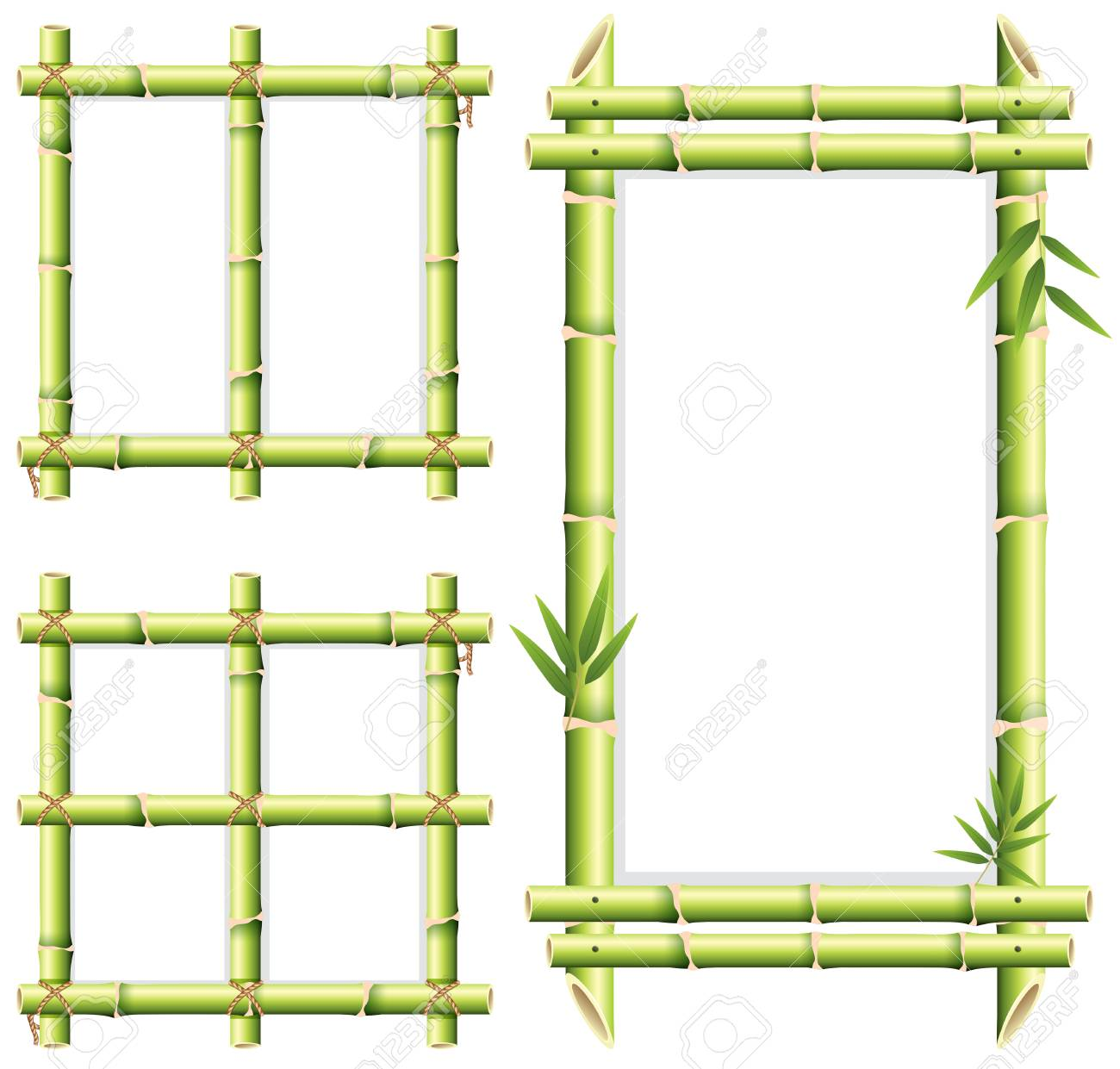 Different Frame Design Of Bamboo Woods Illustration Royalty Free ...
