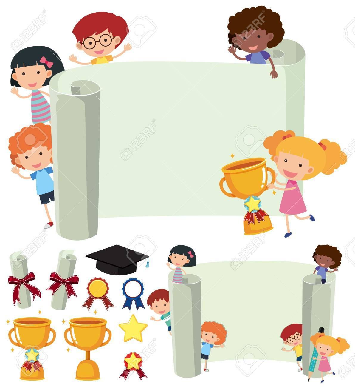 Paper Template With Happy Kids And Trophy Illustration Stock Vector