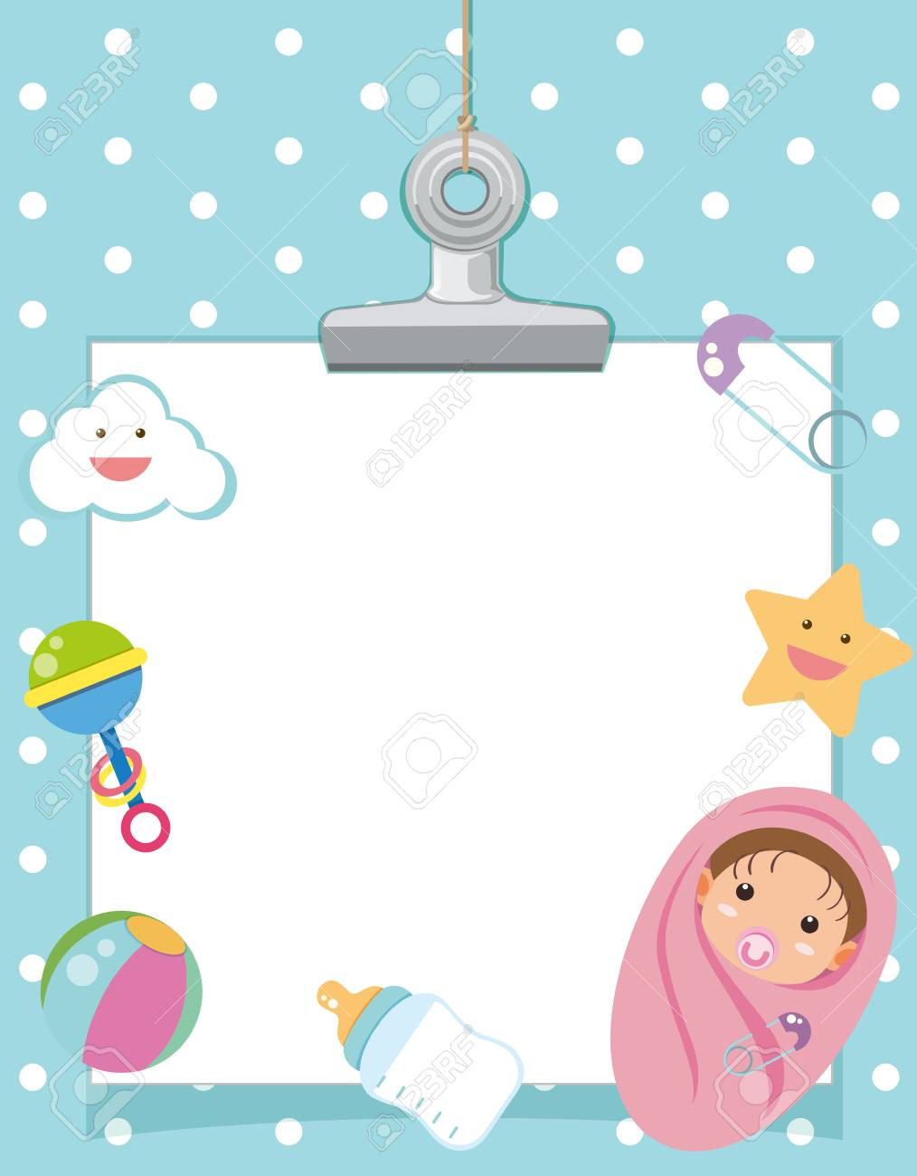 Border Template With Infant And Toys Illustration Royalty Free