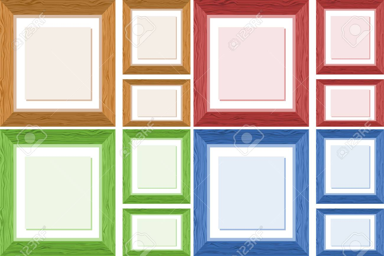 Frame Design In Four Different Colors Illustration Royalty Free ...
