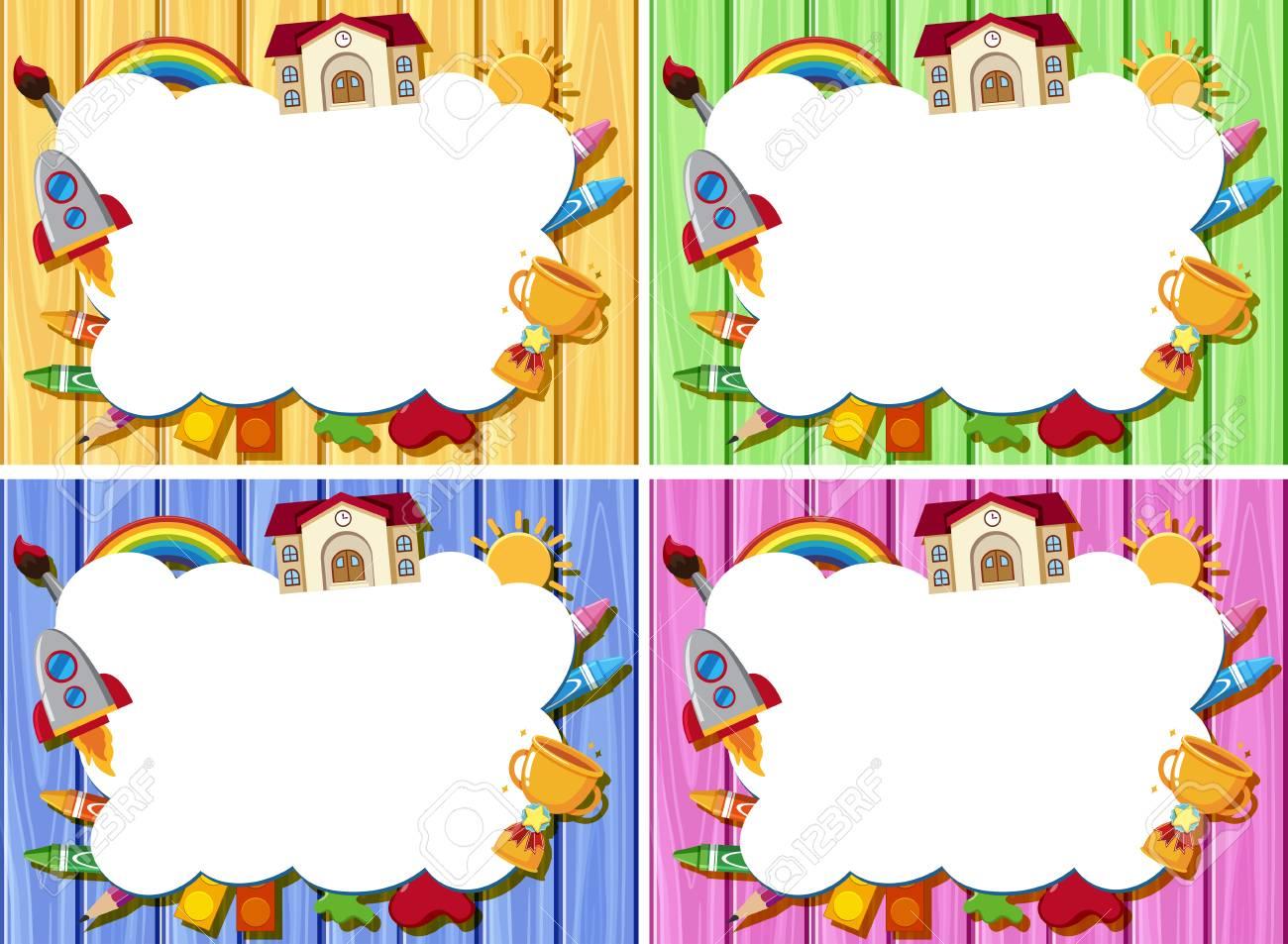 Cuatro Plantillas De Borde Con Diferente Color De La Ilustración De ...