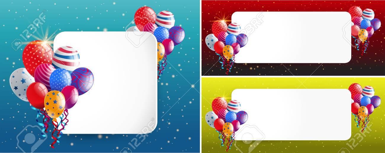 Tres Plantillas De Borde Con Ilustración De Globos De Fiesta ...