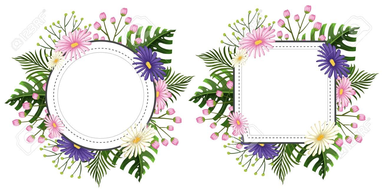 ピンクと紫の花のイラスト 2 つの花フレーム ロイヤリティフリークリップ