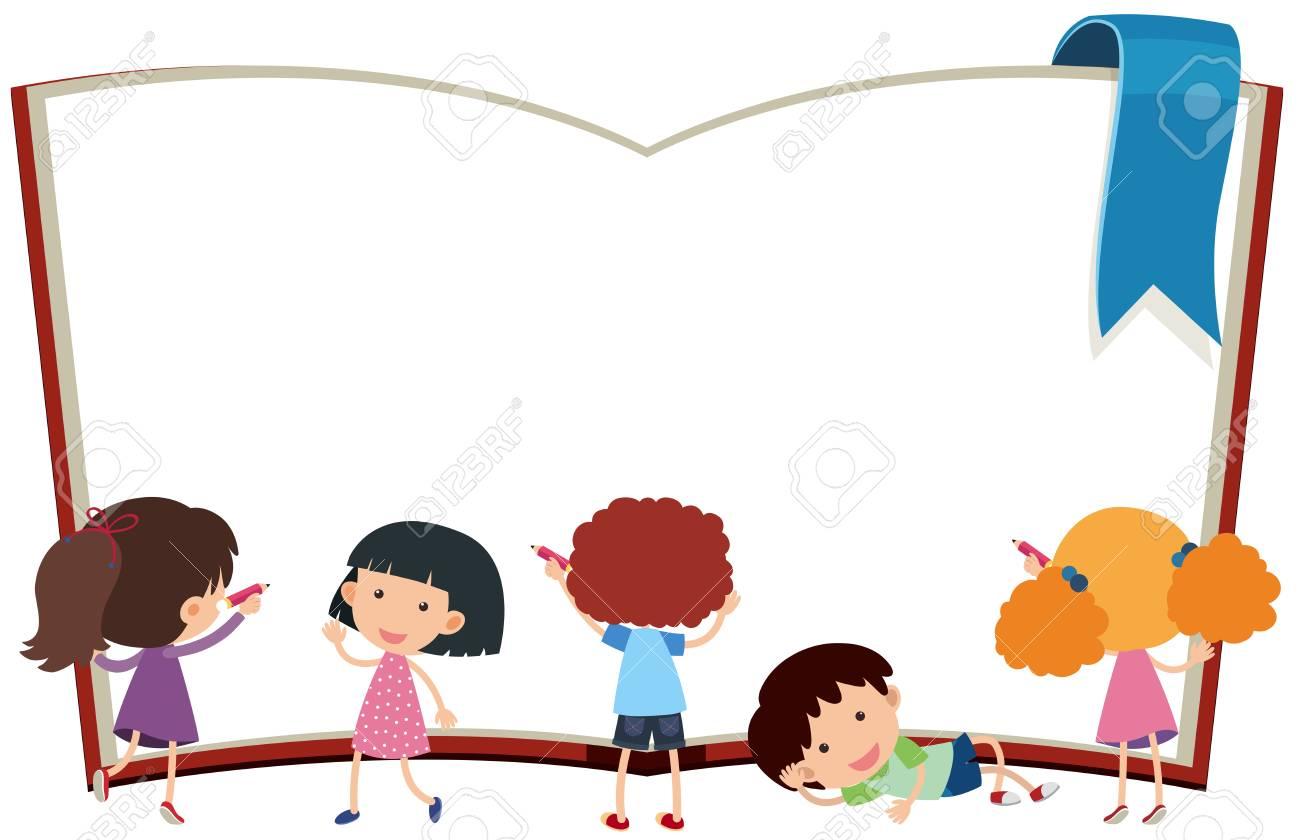 Plantilla De Borde Con Niños Y La Ilustración Del Libro ...