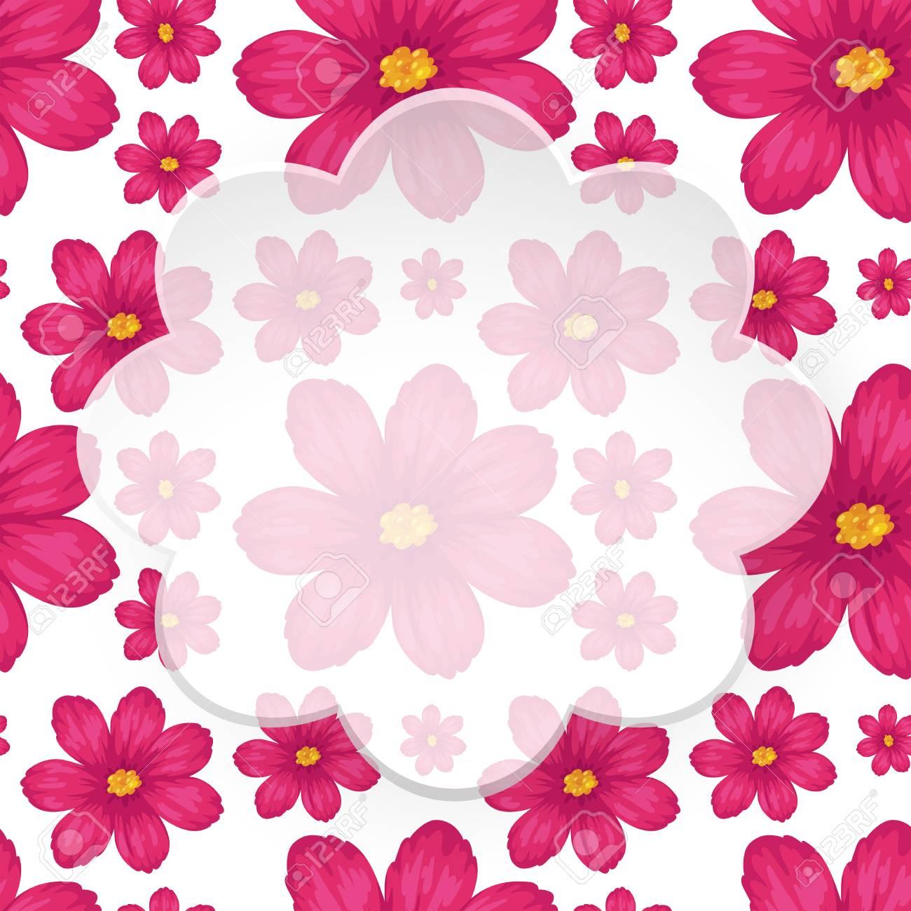 plantilla de borde con ilustración de flores rosadas ilustraciones