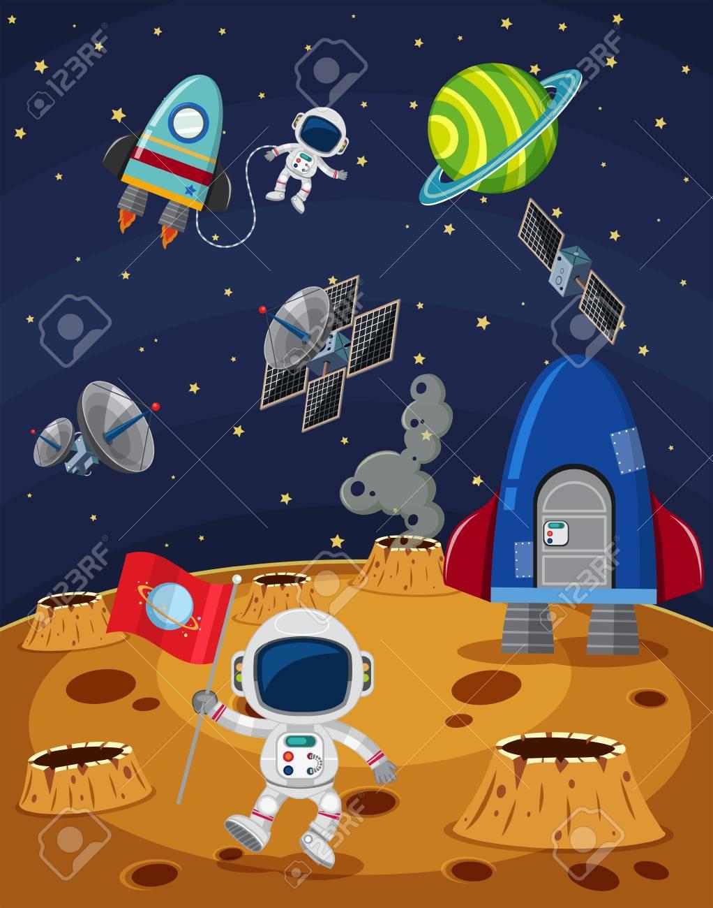宇宙飛行士と宇宙船イラスト スペース シーンのイラスト素材ベクタ