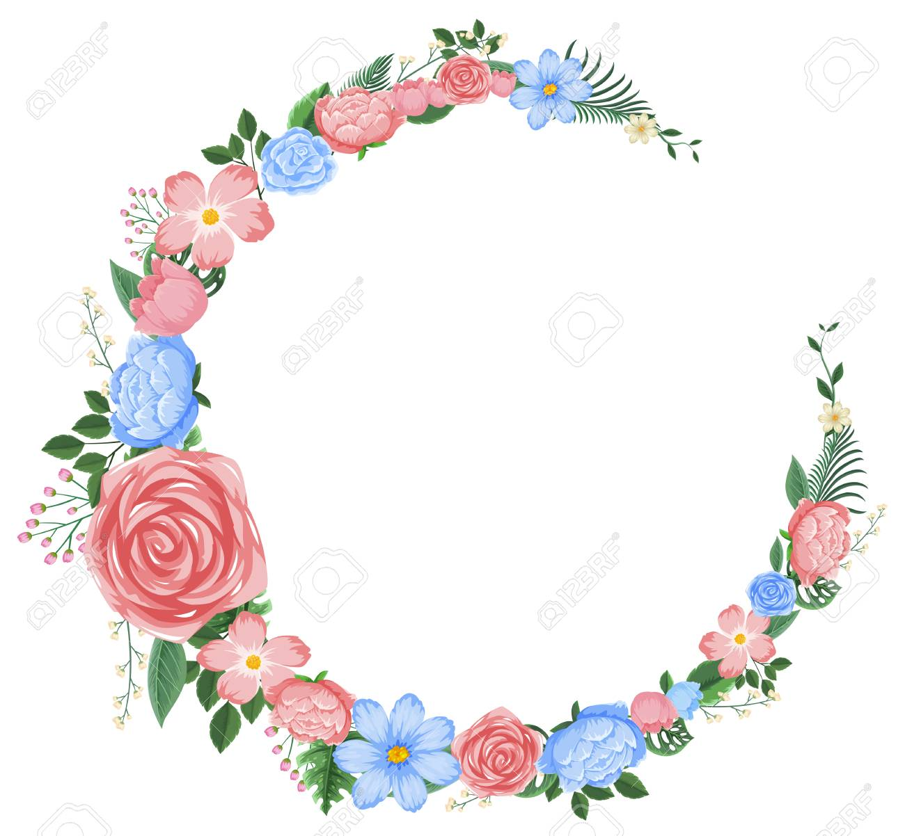 Border design with pink and blue flowers illustration.