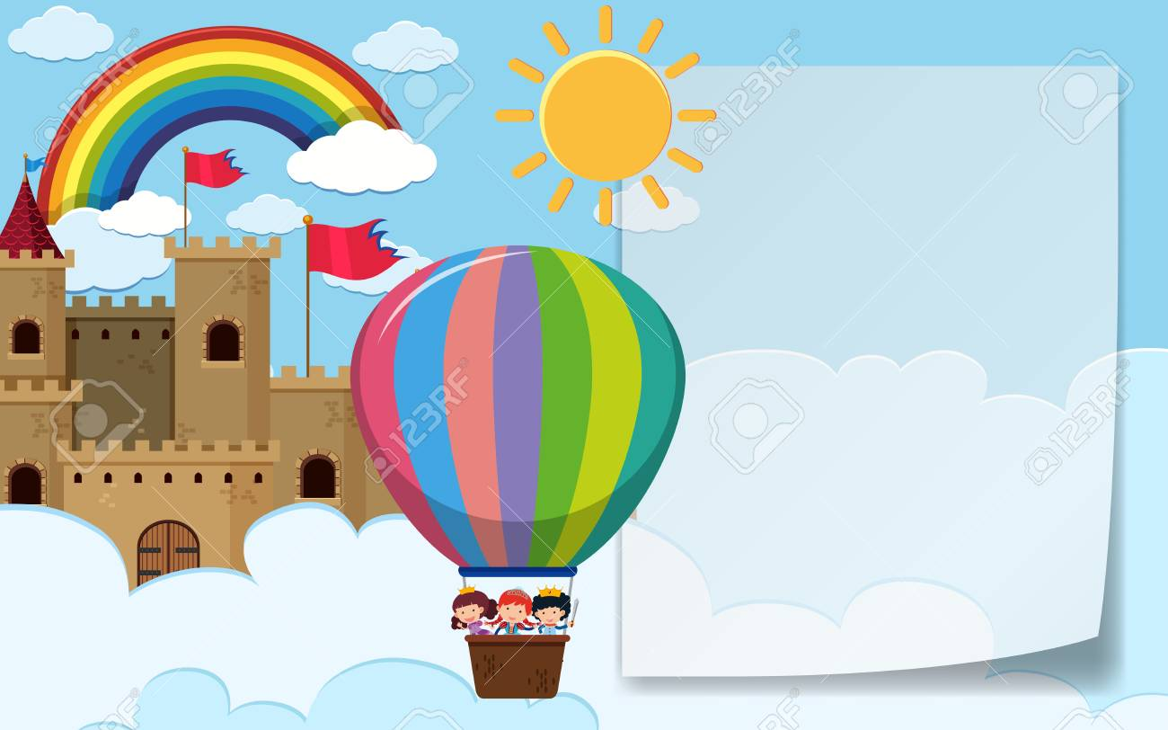 Border Template With Kids Riding Balloon Illustration. Royalty Free ...