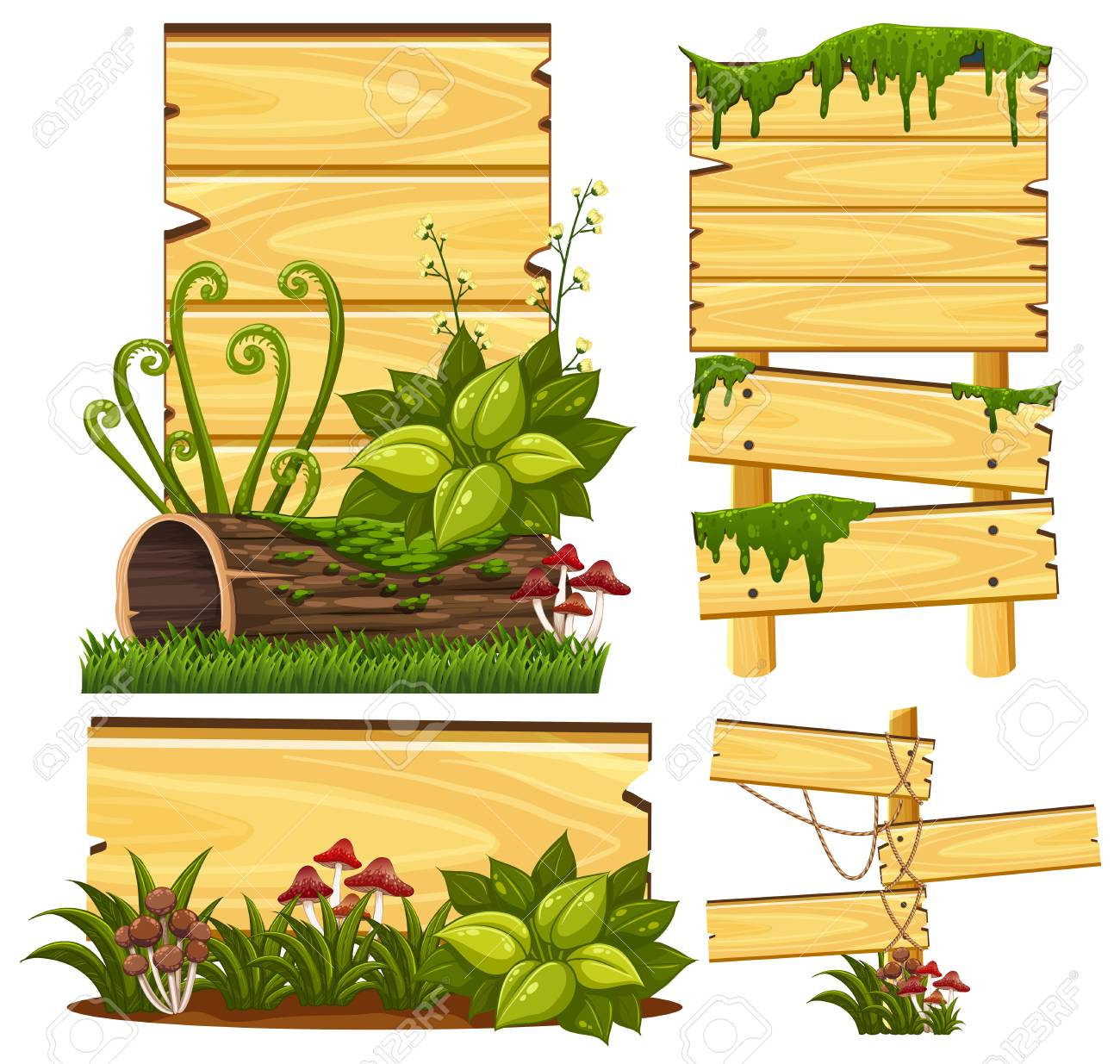 wooden sign template with moss and mushroom illustration royalty