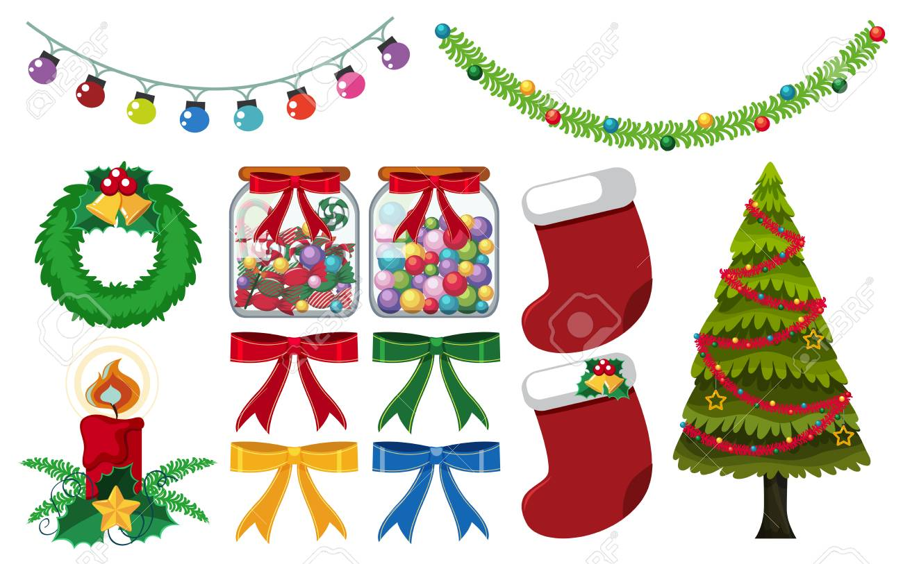 Different Christmas Decorations On White Background Illustration ...