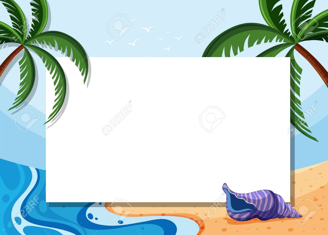 border template with coconut trees and shell on beach illustration