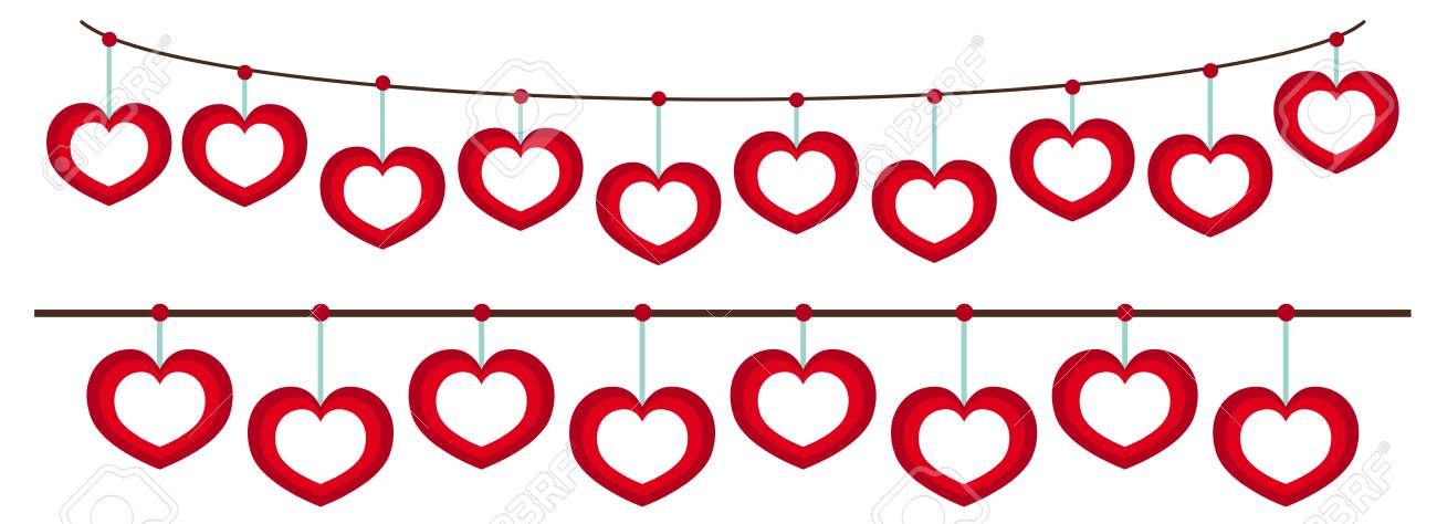 Heart Frames Hanging On String Illustration. Royalty Free Cliparts ...