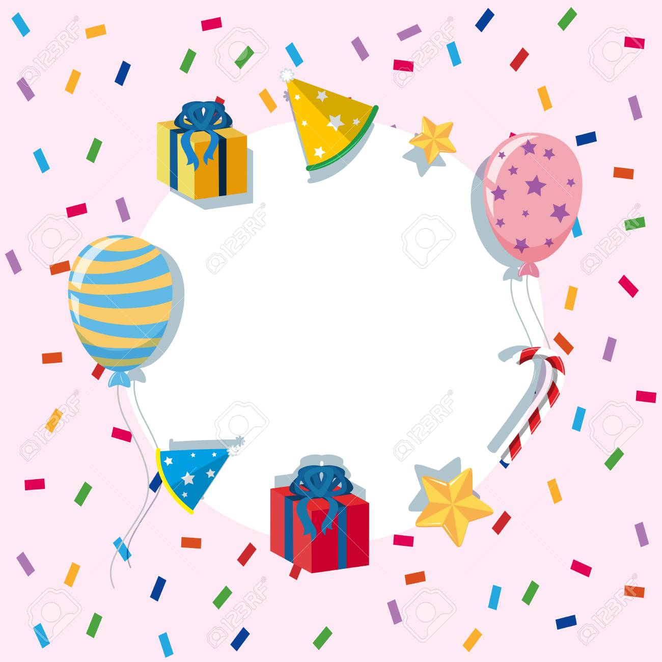 Border Template With Balloons And Party Elements Illustration ...