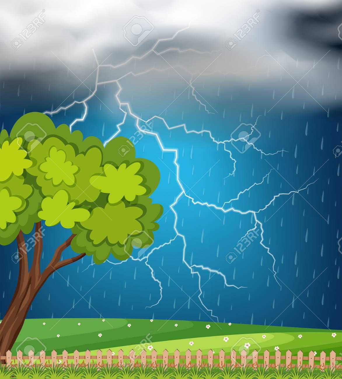Background scene with thunder and rainstorm illustration - 93436761