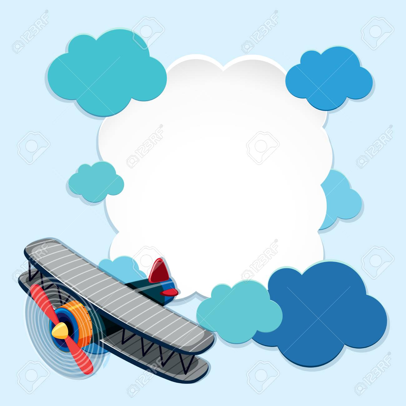 border template with airplane and blue clouds illustration royalty rh 123rf com