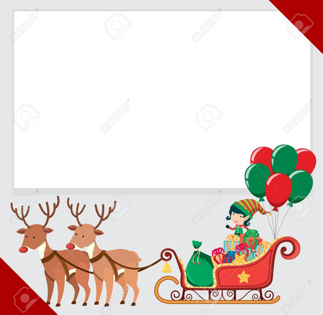 border template with elf and reindeers illustration royalty free