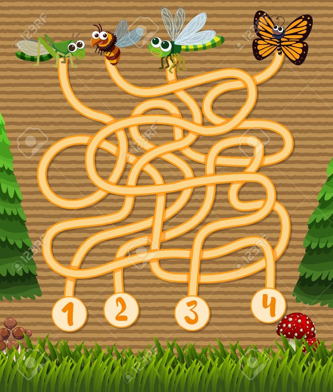 Puzzle Game Template With Insects In Garden Illustration Royalty ...