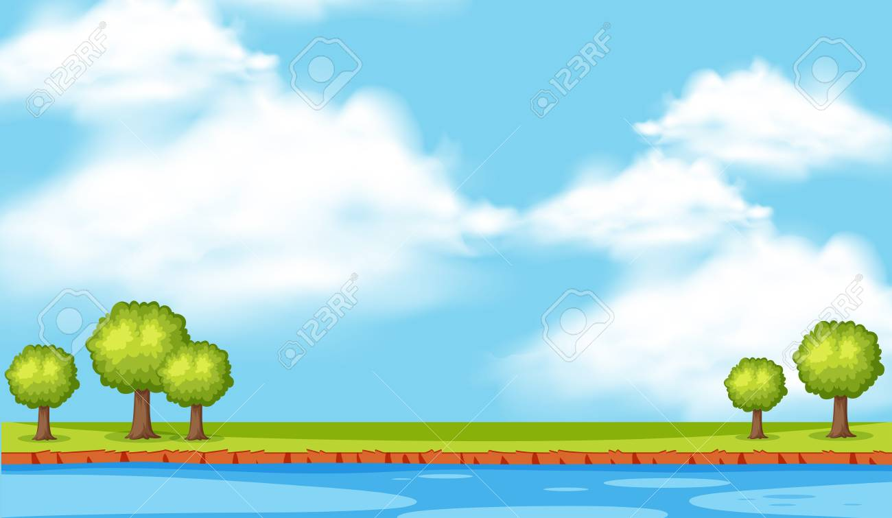Background Scene With Trees Along The River Illustration Royalty Free Cliparts Vectors And Stock Illustration Image 96158375