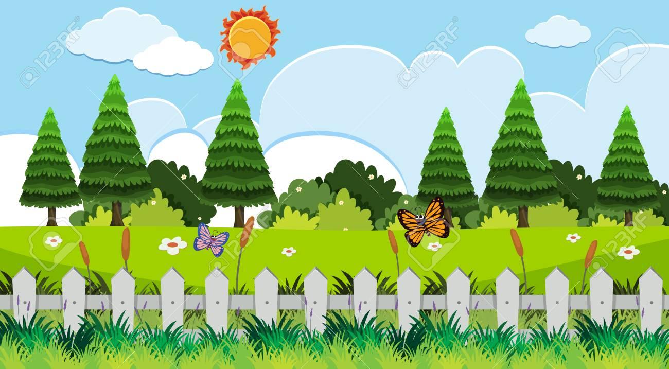 Background scene with butterflies in garden illustration