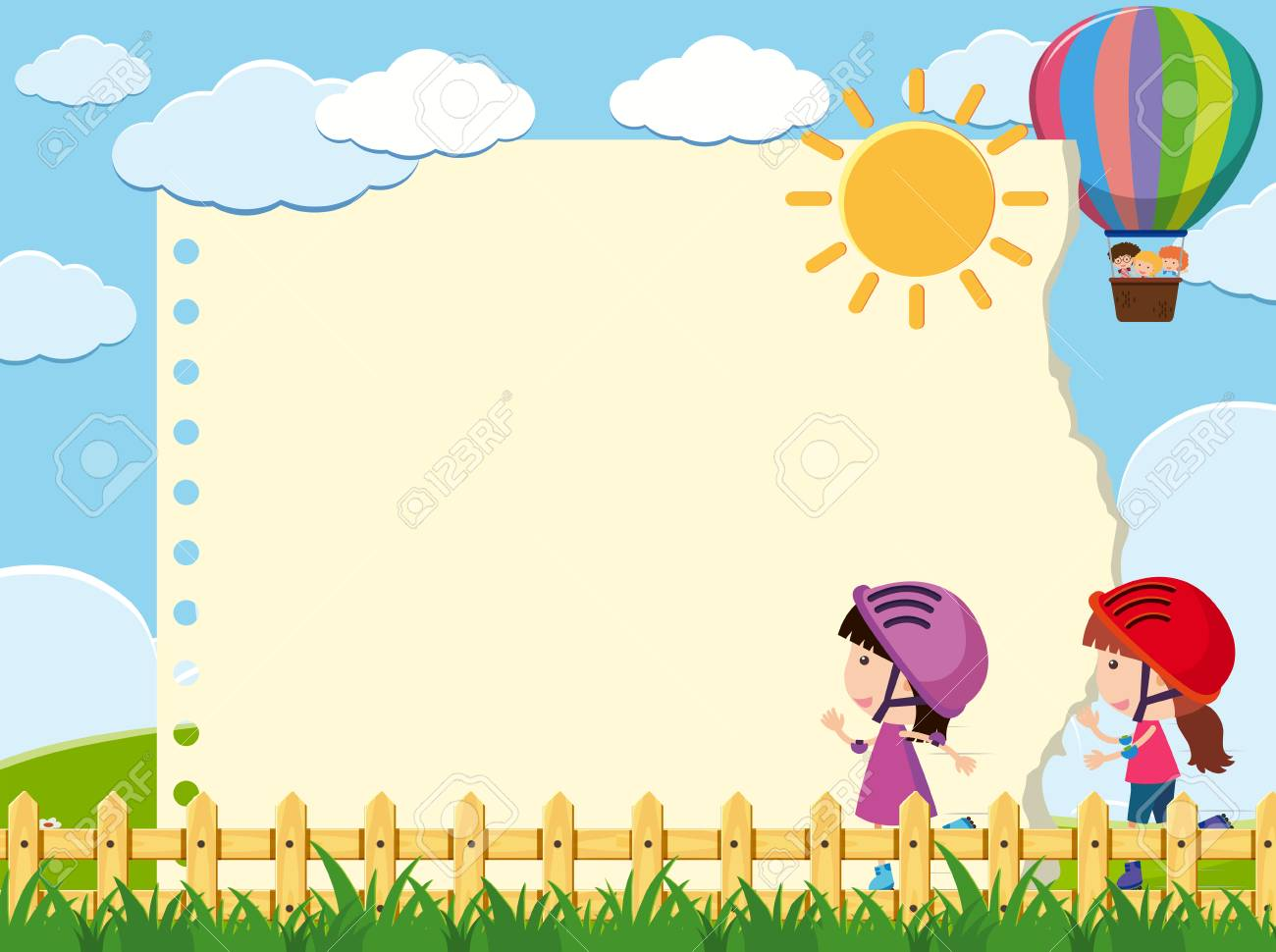 Border Template With Two Girls In Garden Illustration Royalty Free ...