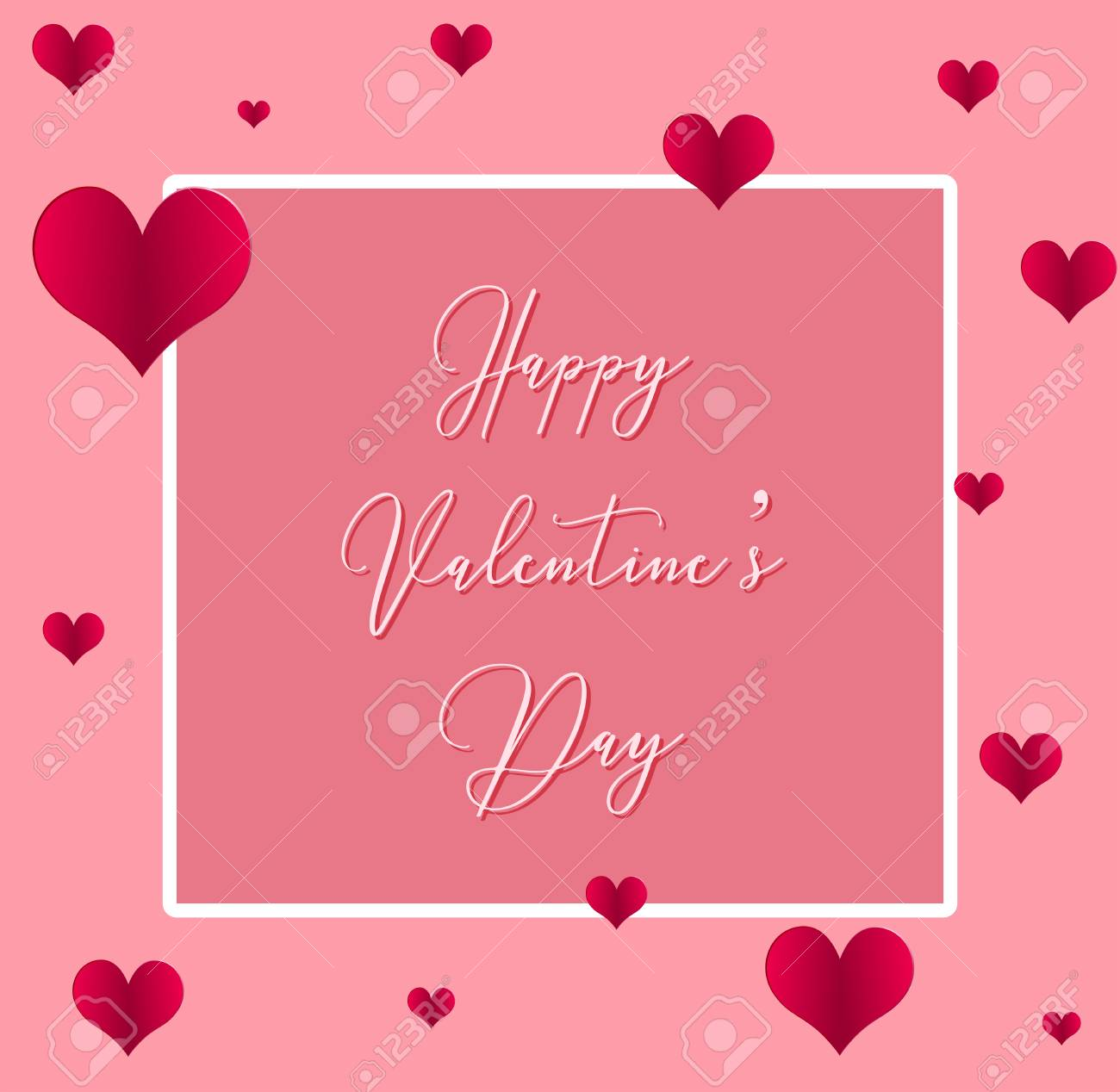 Valentine Card Template With Hearts On Pink Background Illustration