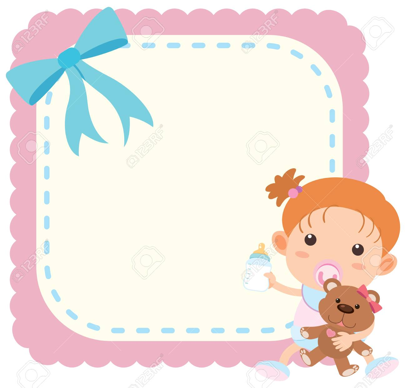 picture regarding Free Printable Baby Borders for Paper identify Border template with child woman and teddy undergo instance