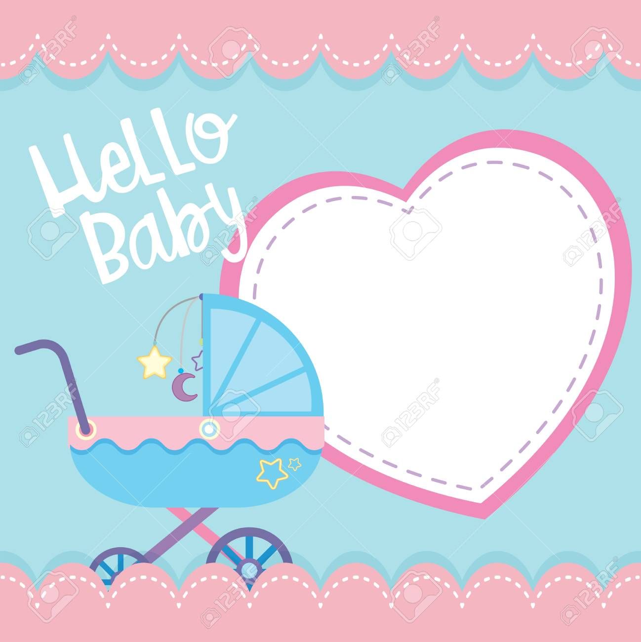 border template with baby stroller illustration royalty free