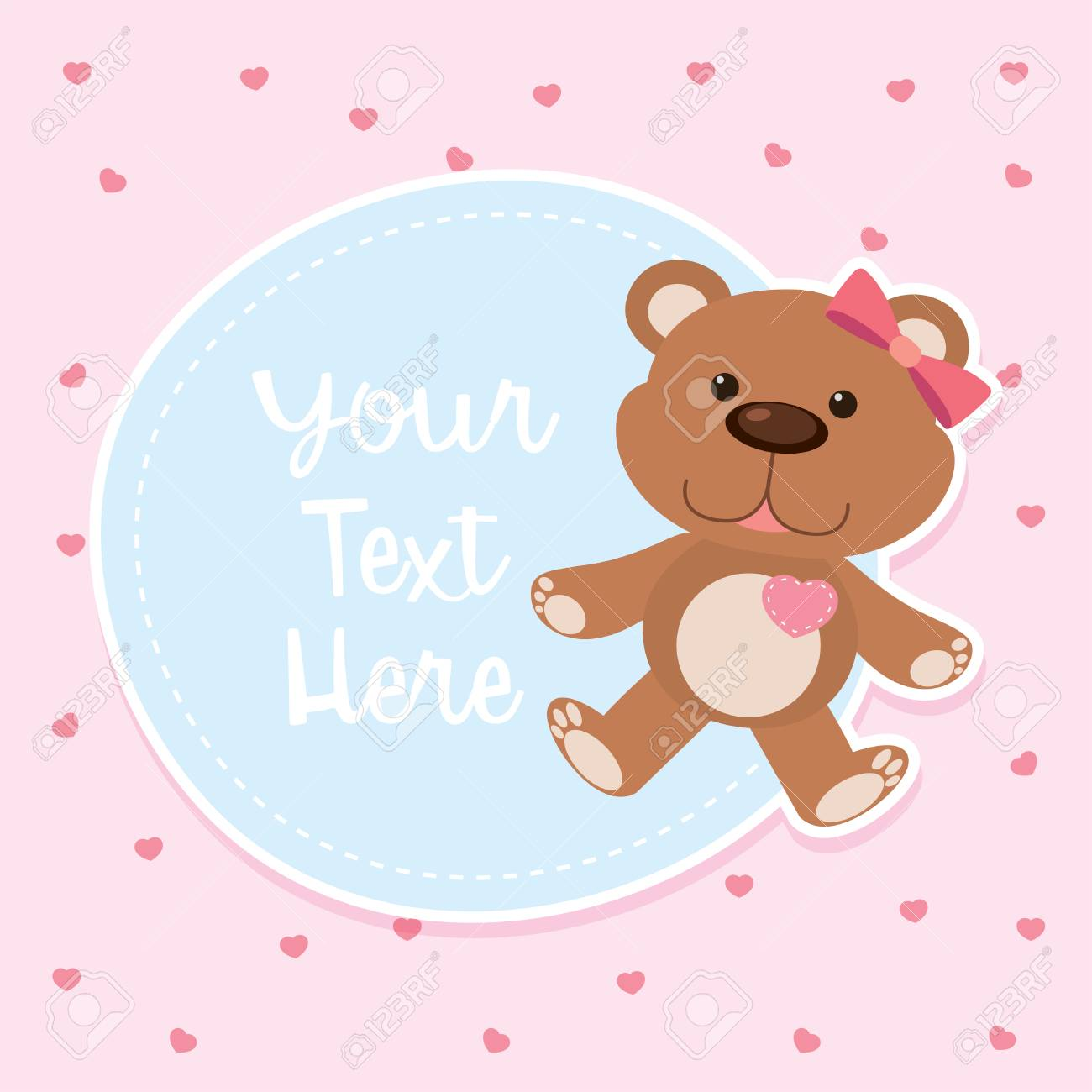 Border Template With Cute Teddybear Illustration Royalty Free