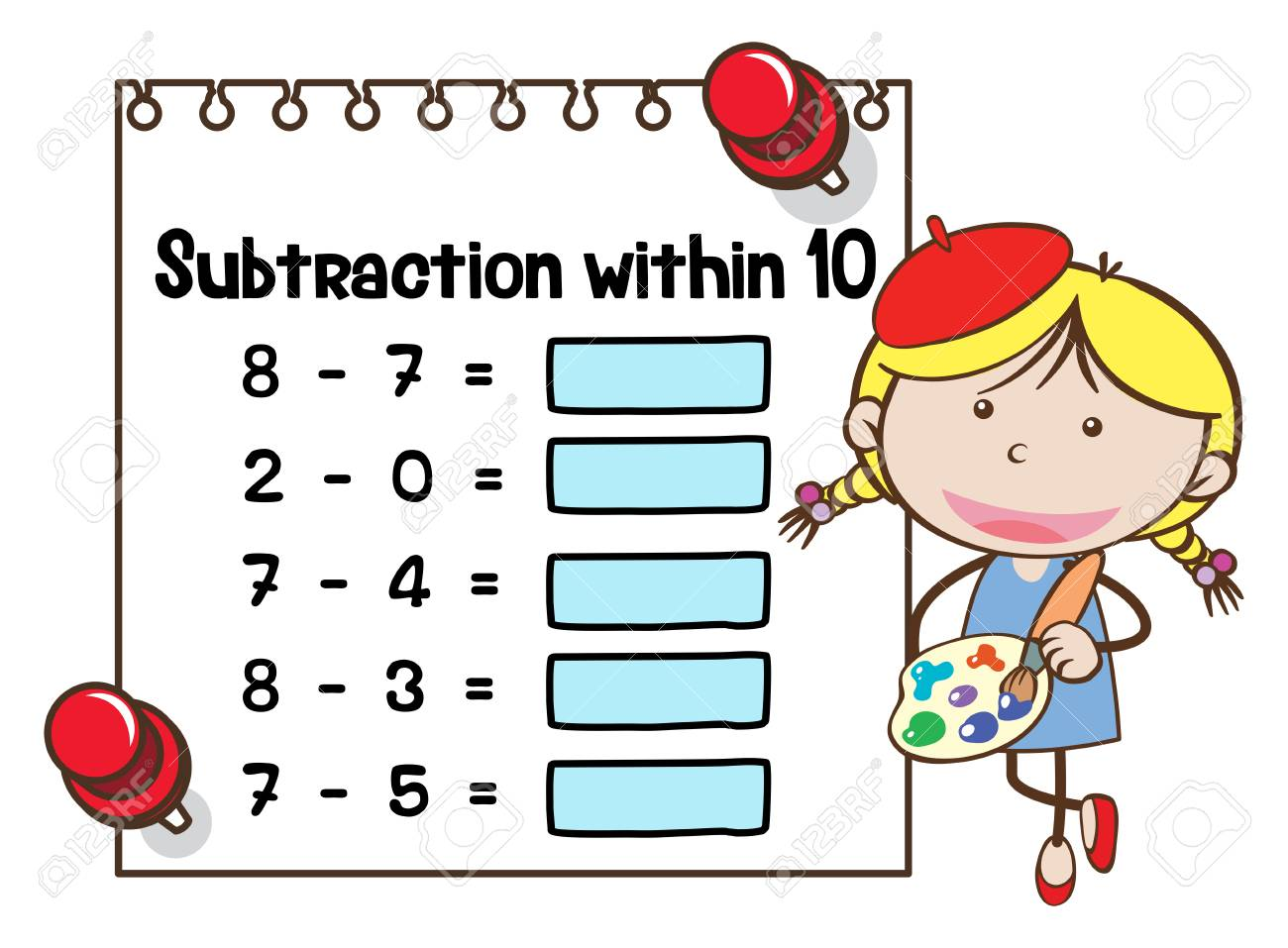 Math Worksheet Template For Subtraction Within Ten Illustration ...