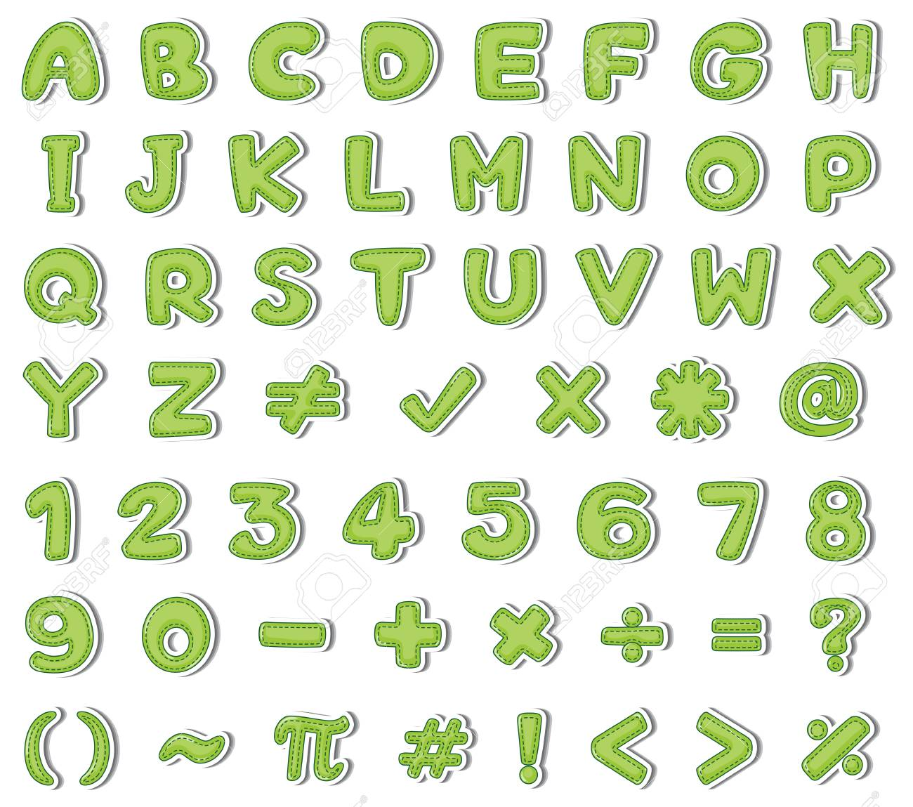Font Design For English Alphabets And Numbers In Green Color ...